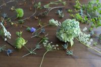 テーブルの上の花や葉