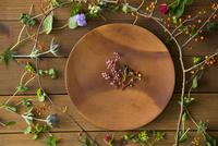 木の皿と植物