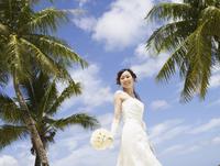 ヤシの木と青空と笑顔の花嫁