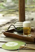 縁側のビールと枝豆と団扇
