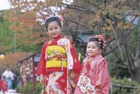 七五三和装の女の子2人 11070033950| 写真素材・ストックフォト・画像・イラスト素材|アマナイメージズ