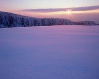 塩尻市高ボッチ高原の日の出と雪景色 11076000322| 写真素材・ストックフォト・画像・イラスト素材|アマナイメージズ