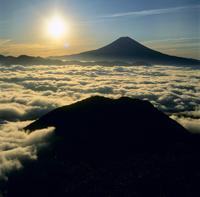 バラの段より雲海と朝日の富士山