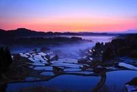 棚田の夜明けと霧 星峠