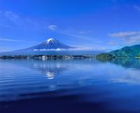 新緑の河口湖と富士山