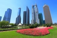 浦東新区のビル群と陸家嘴中心緑地