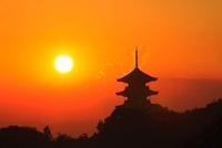 備中国分寺と夕日