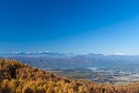 蓼科高原より紅葉と中央アルプス、御嶽山