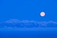 霧ヶ峰高原より北アルプスと雲海、満月 11076003016| 写真素材・ストックフォト・画像・イラスト素材|アマナイメージズ