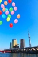 東京スカイツリーと隅田川、風船