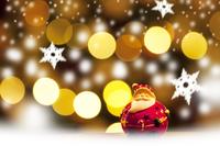 サンタクロースとクリスマスのイルミネーション