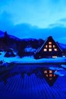 雪の白川郷夜景