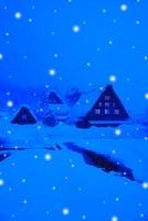 降雪の白川郷夜景