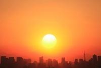 東京都心のビル群と夕日