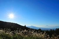 観音平よりススキと富士山 太陽 11076006462| 写真素材・ストックフォト・画像・イラスト素材|アマナイメージズ
