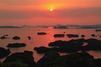展海峰から望む九十九島の夕焼け