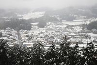 甘樫丘豊浦展望台より望む明日香の里の雪景色