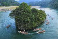 熊野速玉祭の早船の競漕 熊野川の御舟島