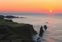 丹後半島 屏風岩と夕日