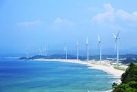 浅利海岸と風車