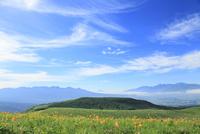 霧ヶ峰高原 キスゲの花と八ヶ岳・富士山・南アルプス