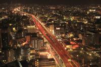 東大阪ジャンクションと街並みの夜景