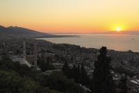 カディフェカレ城塞から望む街並みとイズミル湾 夕日