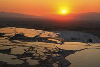 石灰棚と夕日