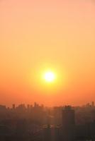 東京の街並みと夕日
