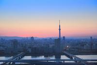荒川より東京スカイツリーと夕日
