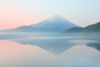新緑の富士山と本栖湖に朝霧