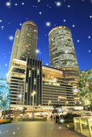 セントラルタワーズとウインターイルミネーション 11076015771  写真素材・ストックフォト・画像・イラスト素材 アマナイメージズ