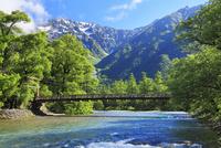 夏の上高地 河童橋と梓川より穂高連峰