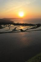 東後畑の棚田と夕日