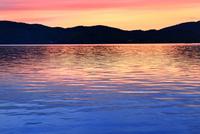 裏磐梯 檜原湖の夕焼け
