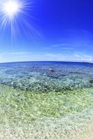 沖縄西表島 バラス島と海に太陽 11076019366| 写真素材・ストックフォト・画像・イラスト素材|アマナイメージズ