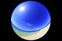 沖縄西表島 バラス島と海に太陽