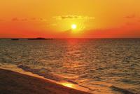 沖縄波照間島 ニシ浜と夕日に染まる海 11076019692| 写真素材・ストックフォト・画像・イラスト素材|アマナイメージズ