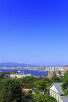 旧函館区公会堂から望む元町公園と函館港