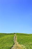 美ヶ原高原 緑の草原と一本の道 11076021990| 写真素材・ストックフォト・画像・イラスト素材|アマナイメージズ