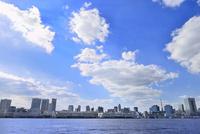 東京湾 ビル群に東京タワーと雲