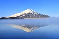 朝霧の山中湖と逆さ富士