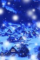 冬の白川郷・降雪夜景 城山展望台より望む合掌集落 11076024300| 写真素材・ストックフォト・画像・イラスト素材|アマナイメージズ