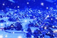 冬の白川郷・降雪夜景 城山展望台より望む合掌集落