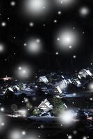 冬の白川郷・ライトアップ夜景と降雪 城山展望台より望む合掌集落 11076024316| 写真素材・ストックフォト・画像・イラスト素材|アマナイメージズ