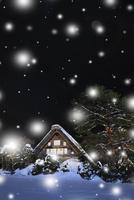 冬の白川郷・ライトアップ夜景と降雪 11076024358| 写真素材・ストックフォト・画像・イラスト素材|アマナイメージズ