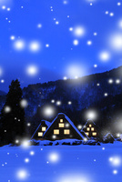 冬の白川郷・降雪夜景 11076024474| 写真素材・ストックフォト・画像・イラスト素材|アマナイメージズ