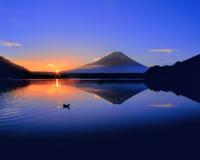 富士山と精進湖の朝日 11076025106| 写真素材・ストックフォト・画像・イラスト素材|アマナイメージズ