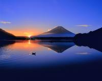 富士山と精進湖の朝日に光芒