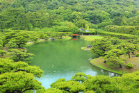 新緑の栗林公園 芙蓉峰から望む北湖と梅林橋